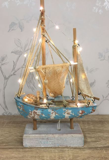 LED Distressed Trawler Light Up Nautical Boat Ornament